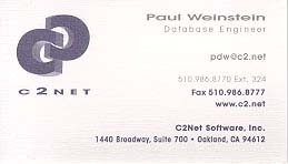Paul Weinstein, Database Engineer for C2Net Software